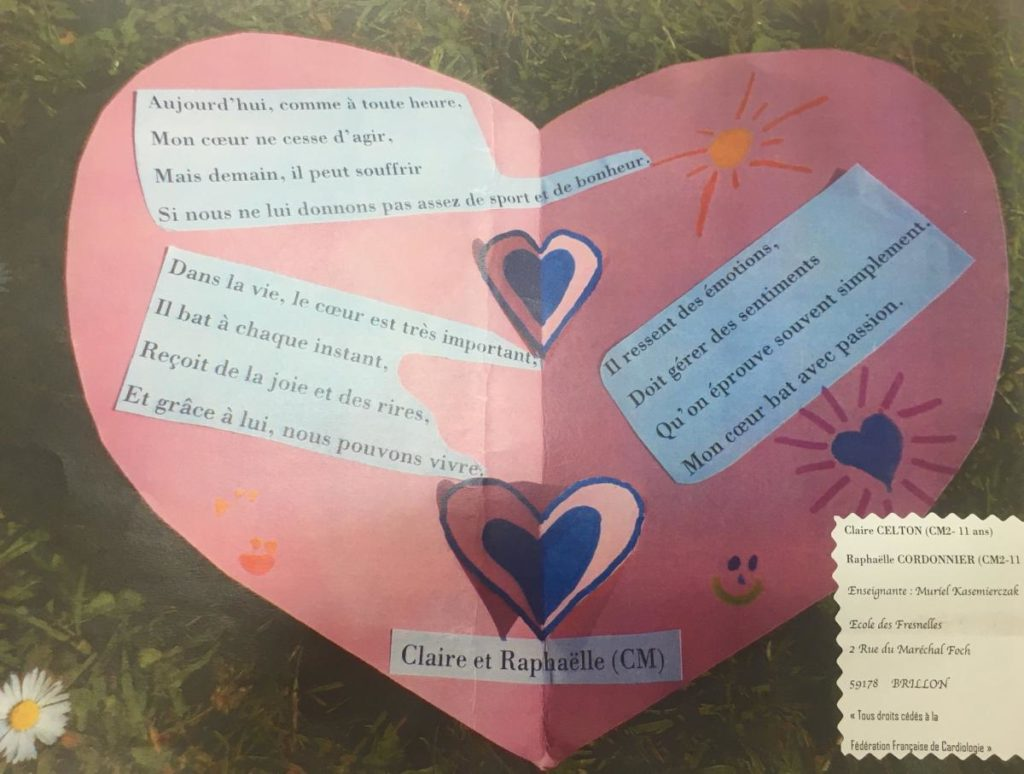 Poème en forme de coeur réalisée les élèves de l'école maternelle Des Fresnelles, Brillon (Nord Pas de Calais)
